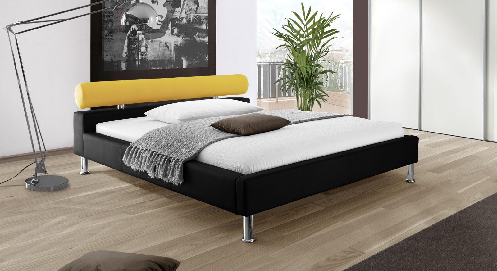 Bett Basildon in schwarzem Kunstleder und gelbem Stoff