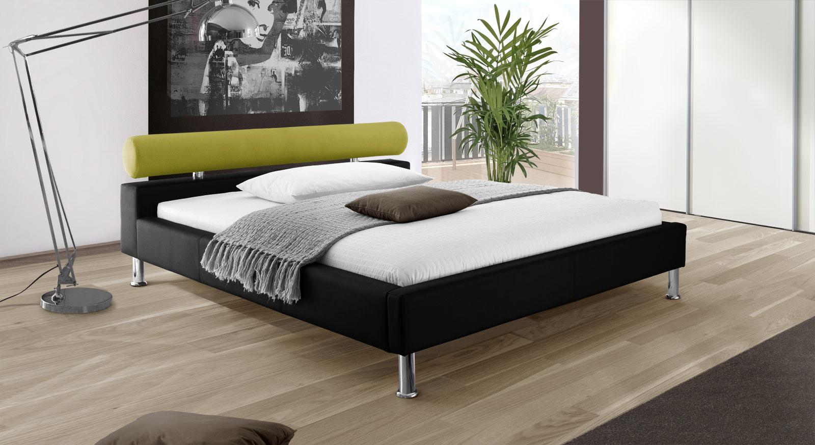 Bett Basildon in schwarzem Kunstleder und grünem Stoff