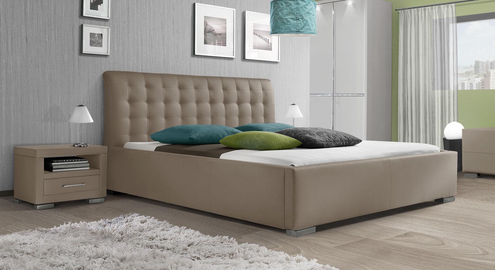 Bett Baskerville Comfort mit grau-braunem Kunstleder-Bezug