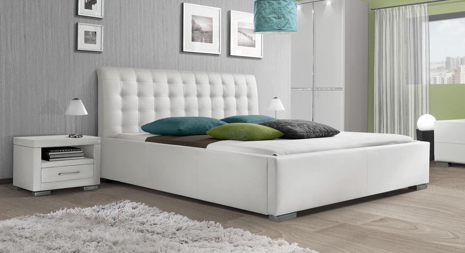 Bett Baskerville Comfort mit weißem Kunstleder-Bezug