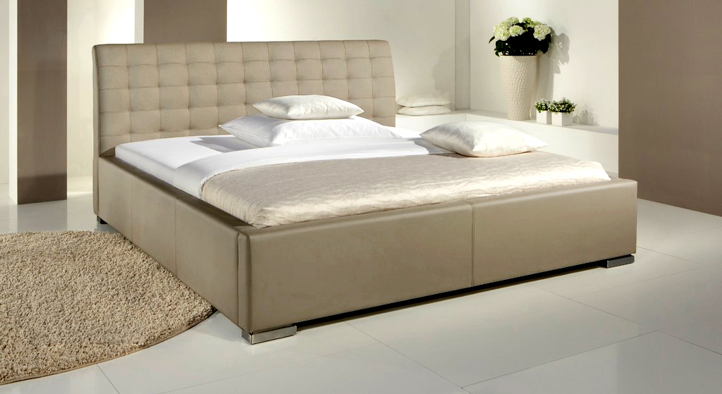 kunstlederbett mit hohem kopfteil - baskerville comfort, Hause deko