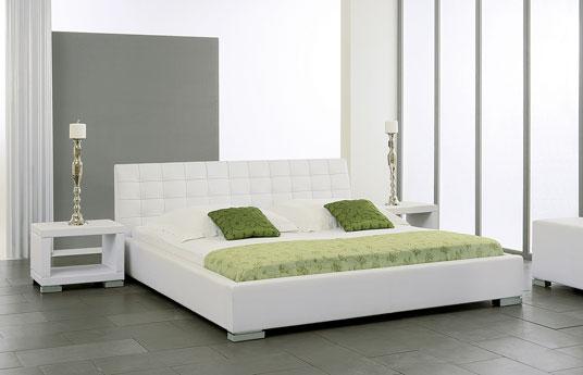 lederbett baskerville in wei mit hohem kopfteil. Black Bedroom Furniture Sets. Home Design Ideas