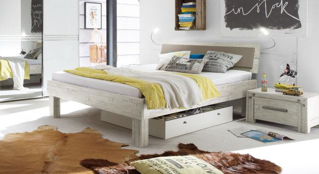 Weißes Bett Caldera mit 25 cm Fußhöhe
