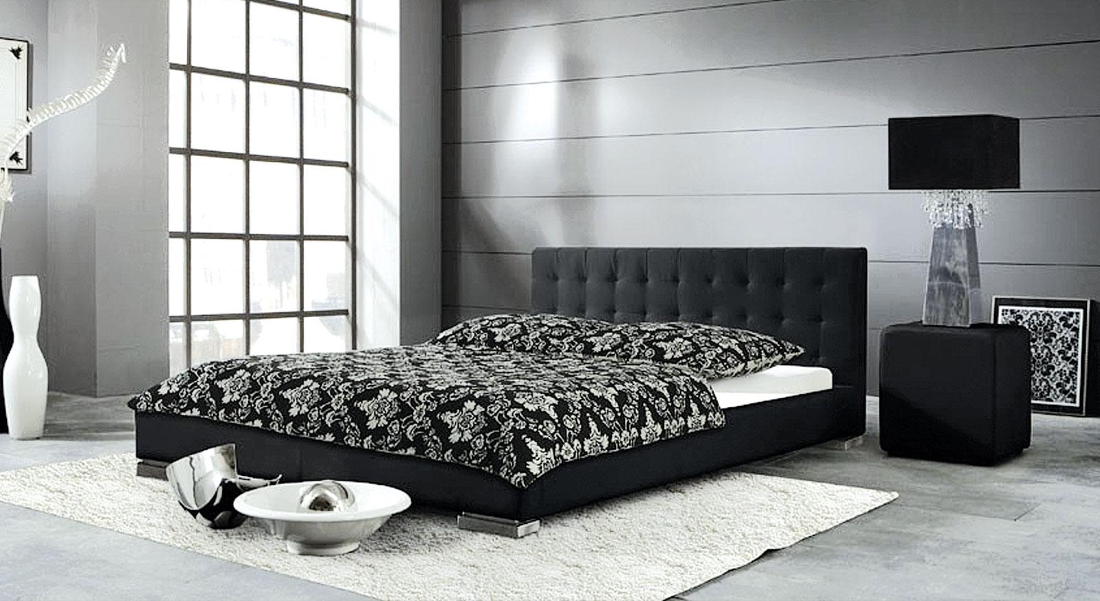 Schwarzes Bett Campo mit niedrigem Bettrahmen