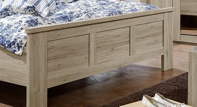 doppelbett in eiche dekor mit hohem kopfteil und fu teil catio. Black Bedroom Furniture Sets. Home Design Ideas