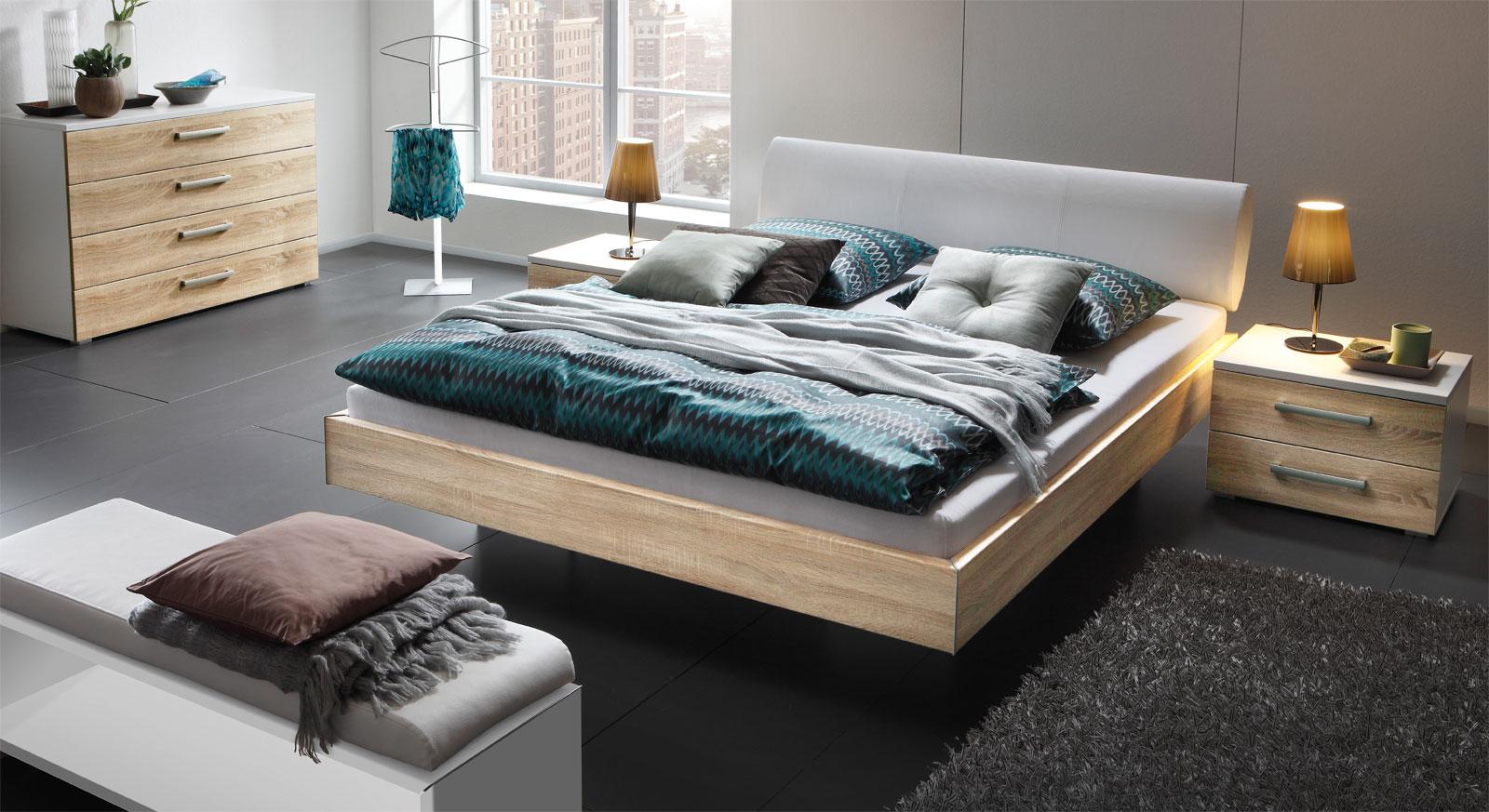 bettgestell samt kunstleder kopfteil und dekor cesena. Black Bedroom Furniture Sets. Home Design Ideas