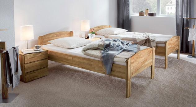 Colombo Einzelbett aus Kernbuche Massivholz