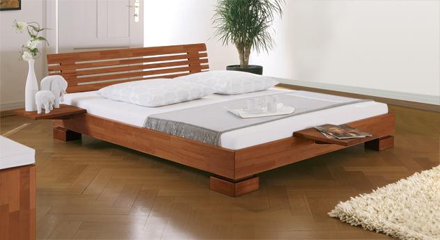 stilvolles holzbett como in buche inkl matratze. Black Bedroom Furniture Sets. Home Design Ideas