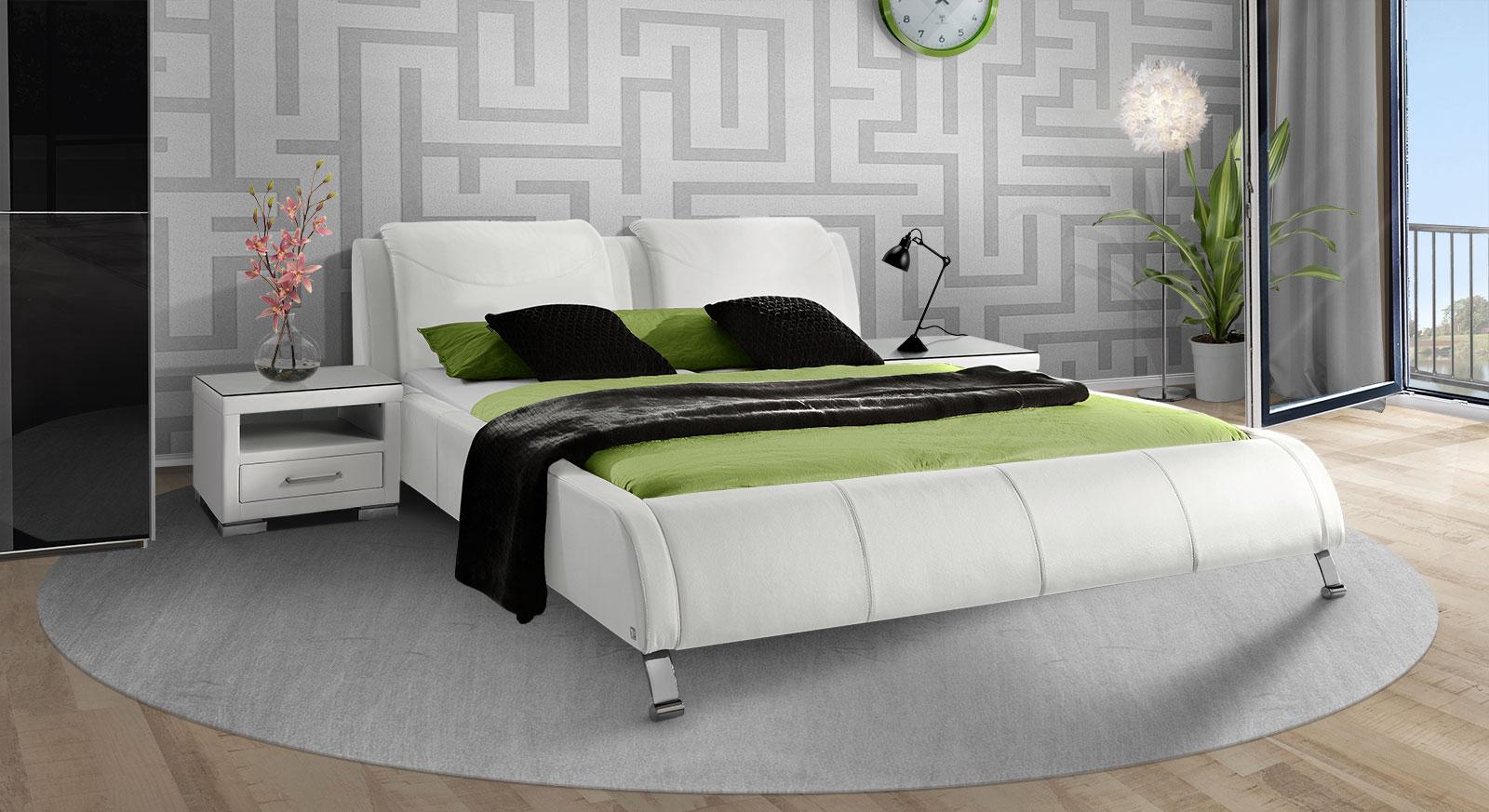 Bett Coventry in stilvollem, weißem Echtleder