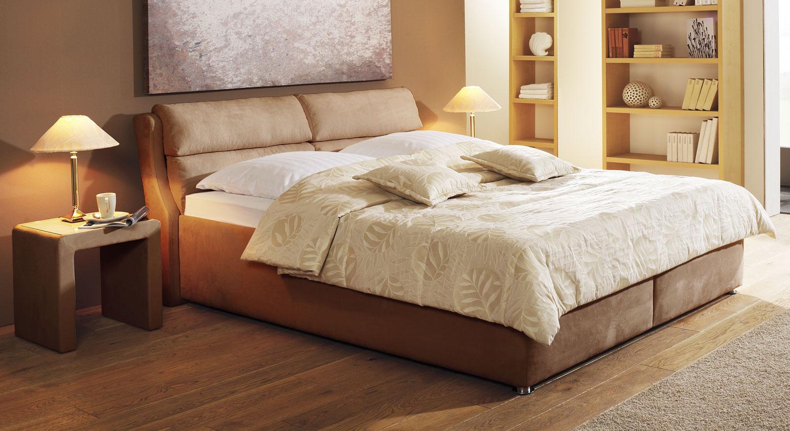 polsterbett cremona hochwertig in creme mit velours-bezug - Hochwertiges Bett Fur Schlafzimmer Qualitatsgarantie
