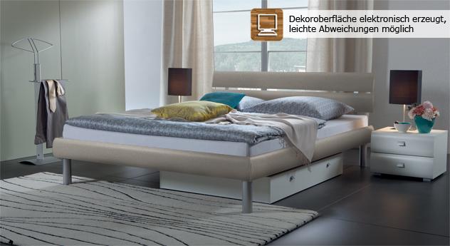 Bett-Diego-Fußhöhe meallfarben.