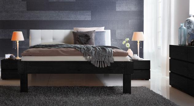 Bett Faro in graphitfarbener Eiche mit 30cm hohen Füßen