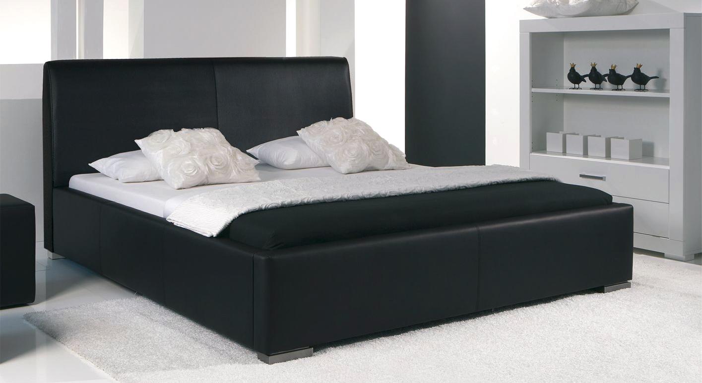 Bett Firenze Comfort Leder schwarz