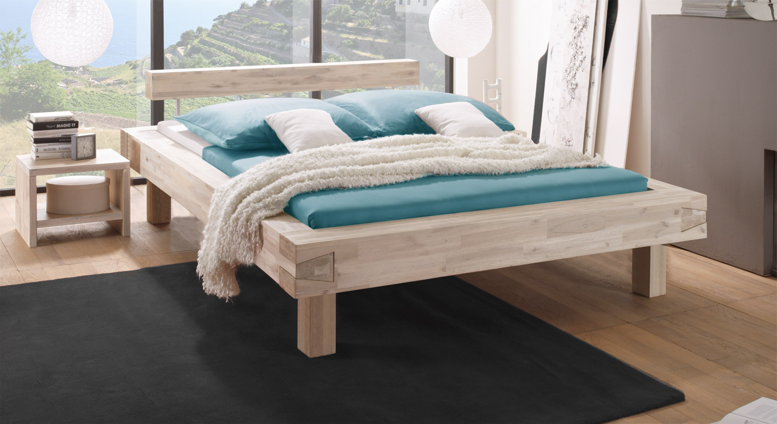 Bett aus Akazienholz mit 25cm Fußhöhe - Kalabria
