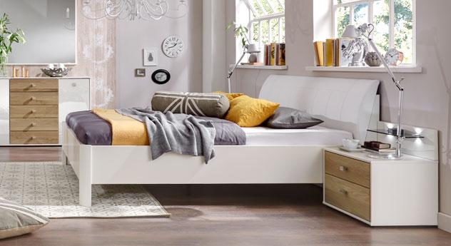 Dekorbett Koga mit weißem Kunstleder