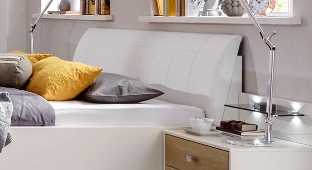 Bett Koga mit gepolstertem und gewölbtem Kopfteil