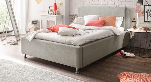 140 cm breites Bett La Marsa in Beige