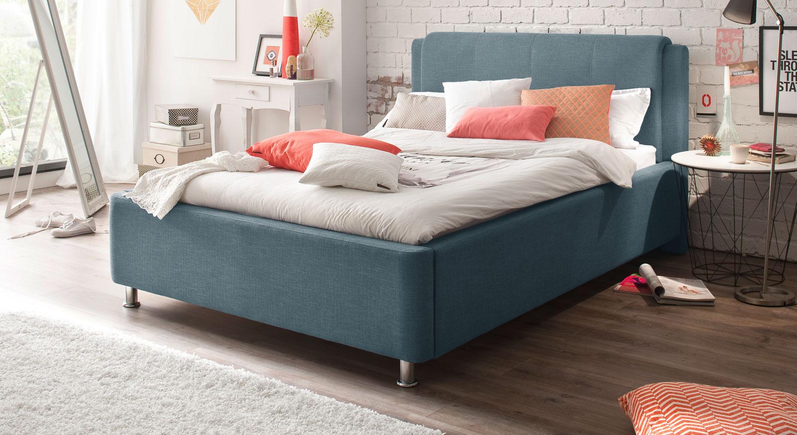Blaues Bett La Marsa mit 140 cm Bettbreite