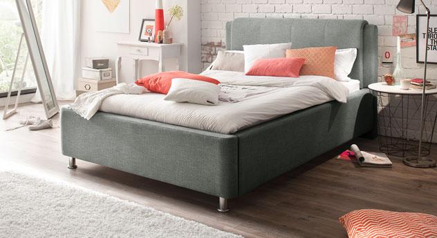 Polsterbett g nstig mit stoffbezug und bettkasten la marsa for Bett 140 breit