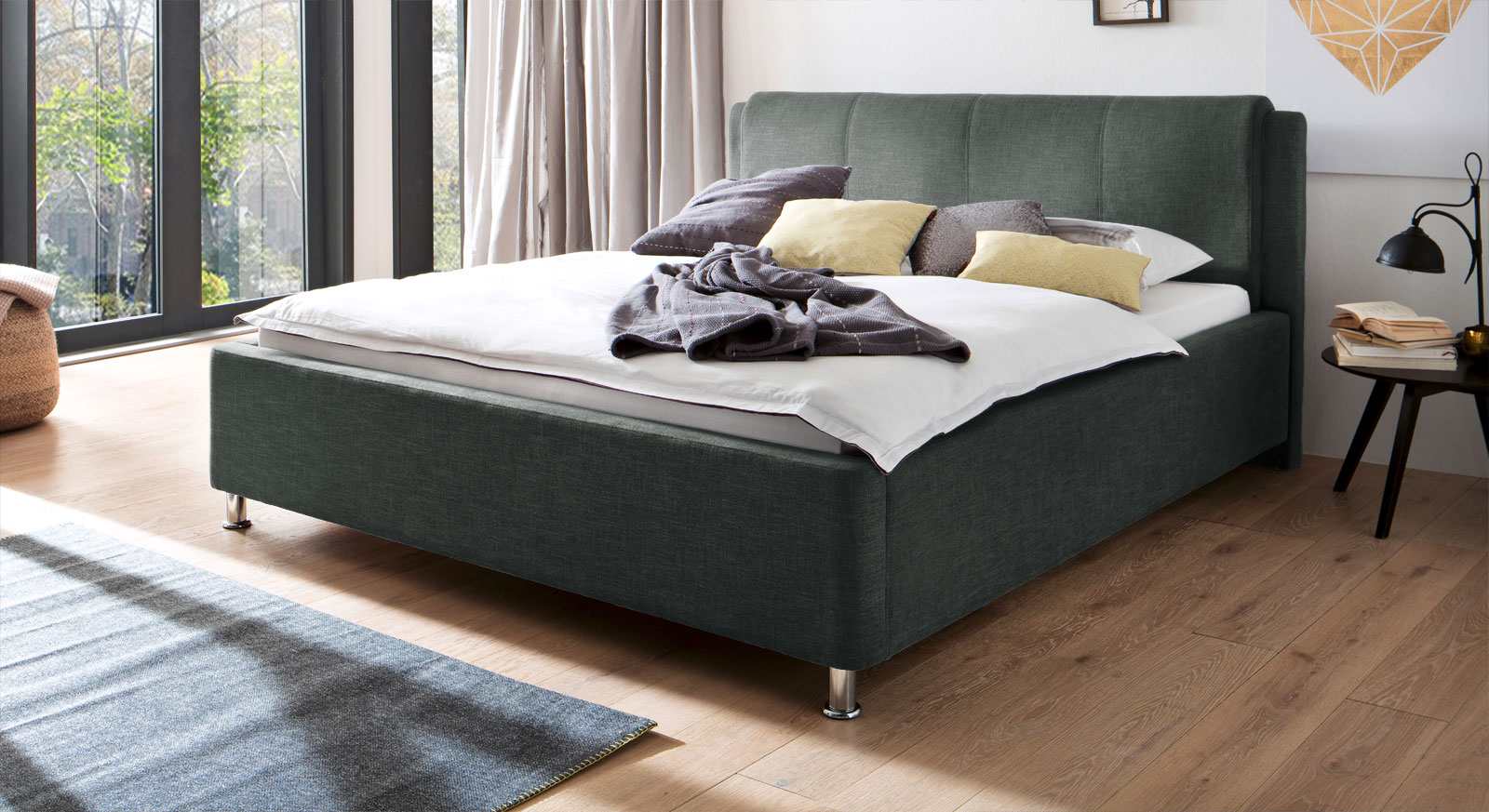 180 cm breites Bett La Marsa in Anthrazit