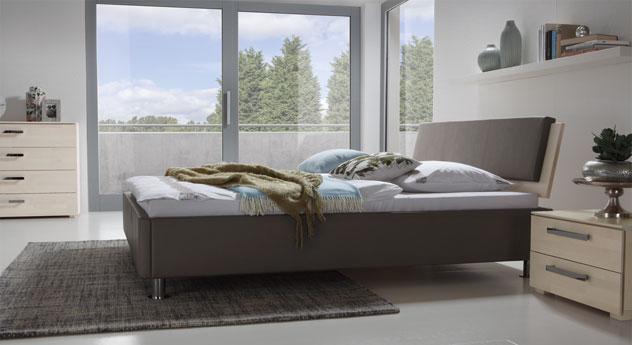 Bett Lecce in Grau und Buche weiß
