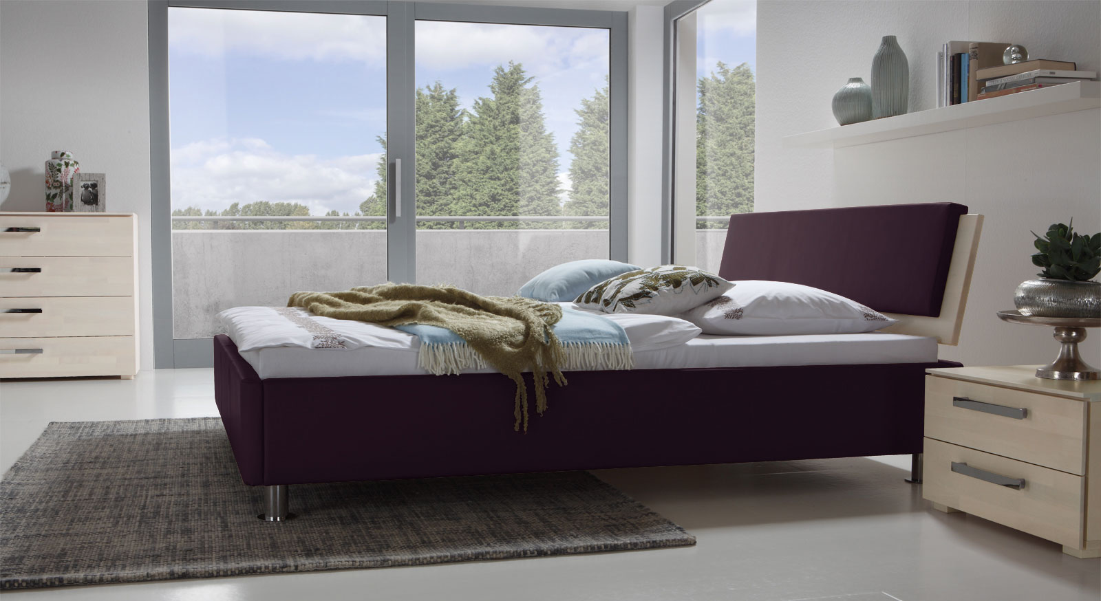 Bett Lecce in Violett und Buche weiß