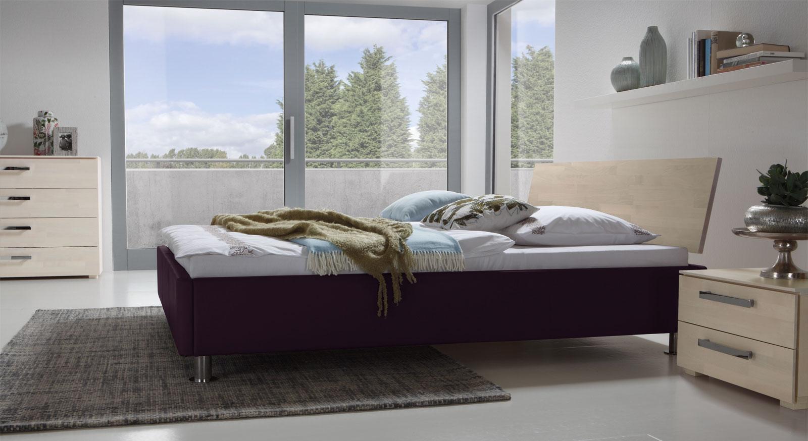 Bett Lecce ohne Kunstleder-Polster in Violett