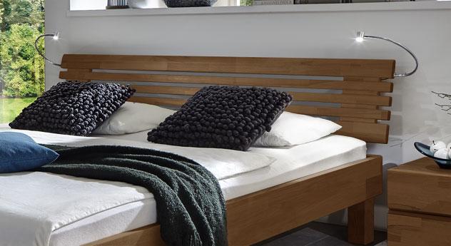 Bett Livenza mit modernem Sprossenkopfteil in Buche nussbaumfarben