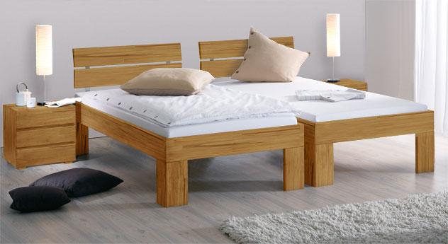 Bett Lucca Komfort aus Bucheholz mit der Fusshöhe 30cm in Kernbuche