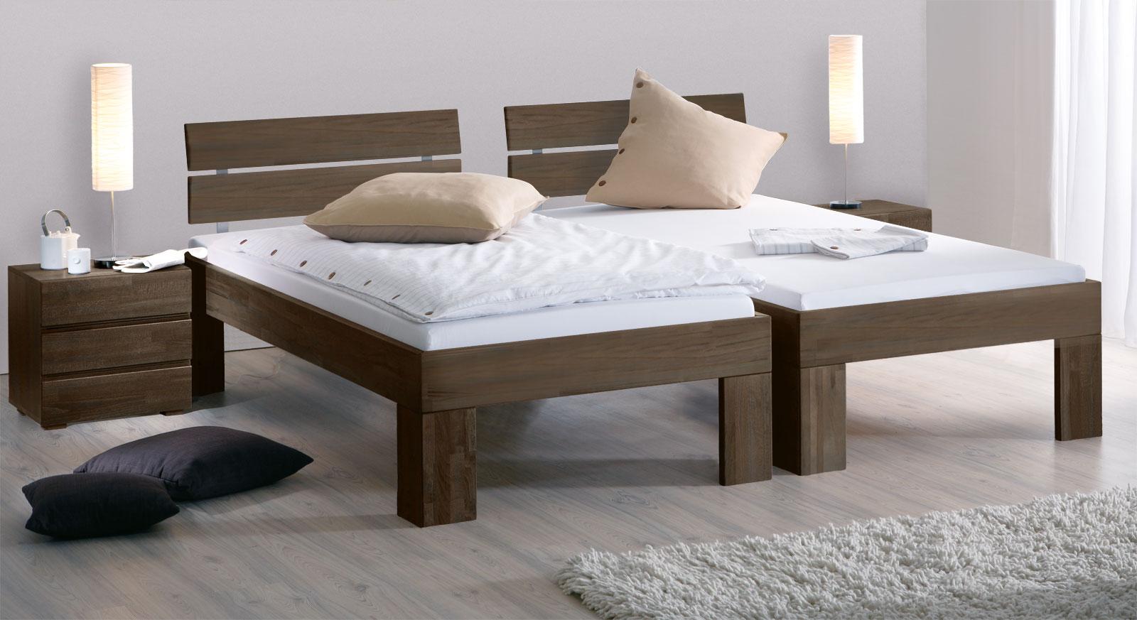 Bett Lucca Komfort aus Bucheholz mit der Fusshöhe 30cm in Buche