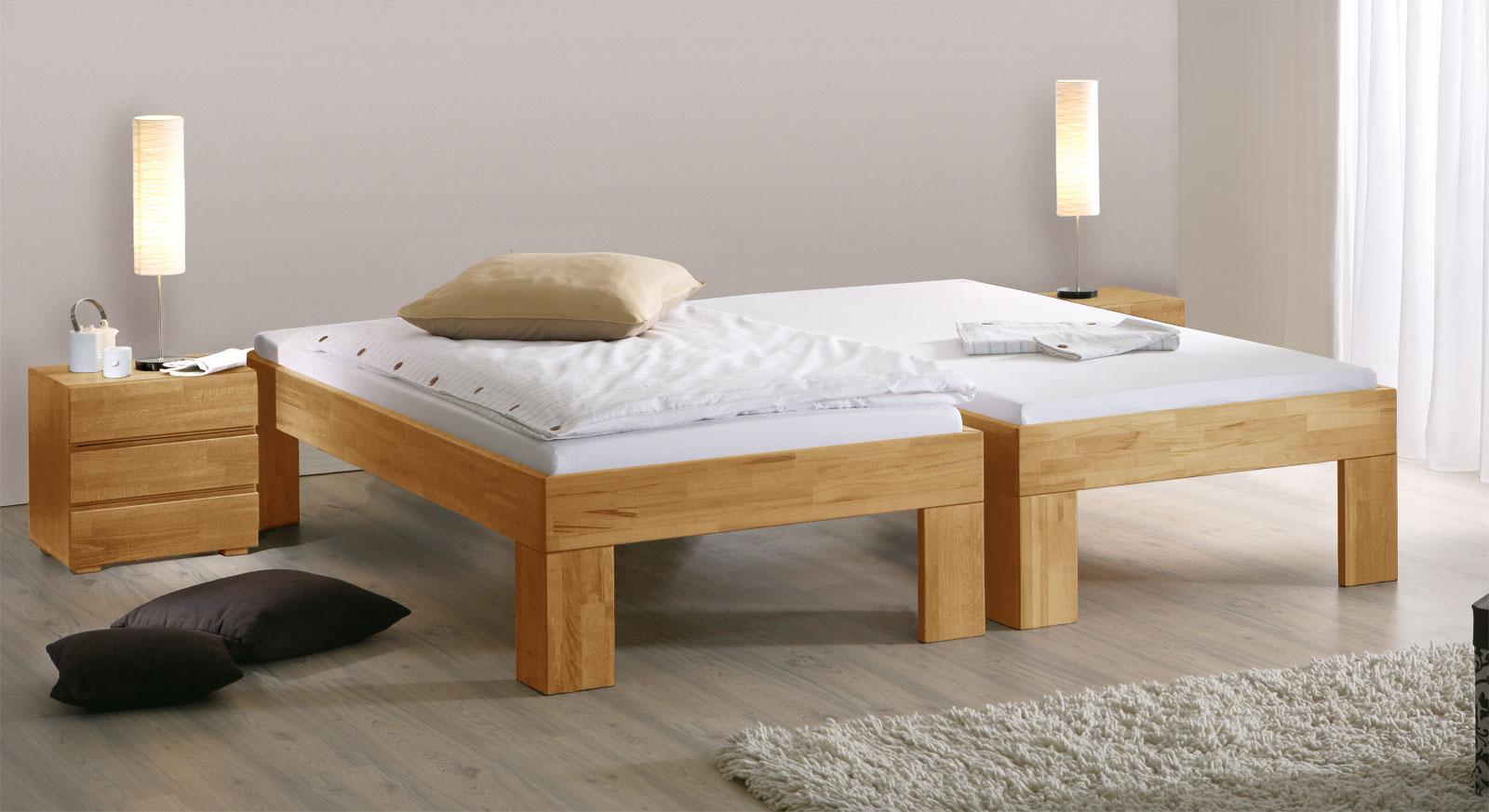 Bett Lucca Komfort mit Fusshöhe 30cm in Buche