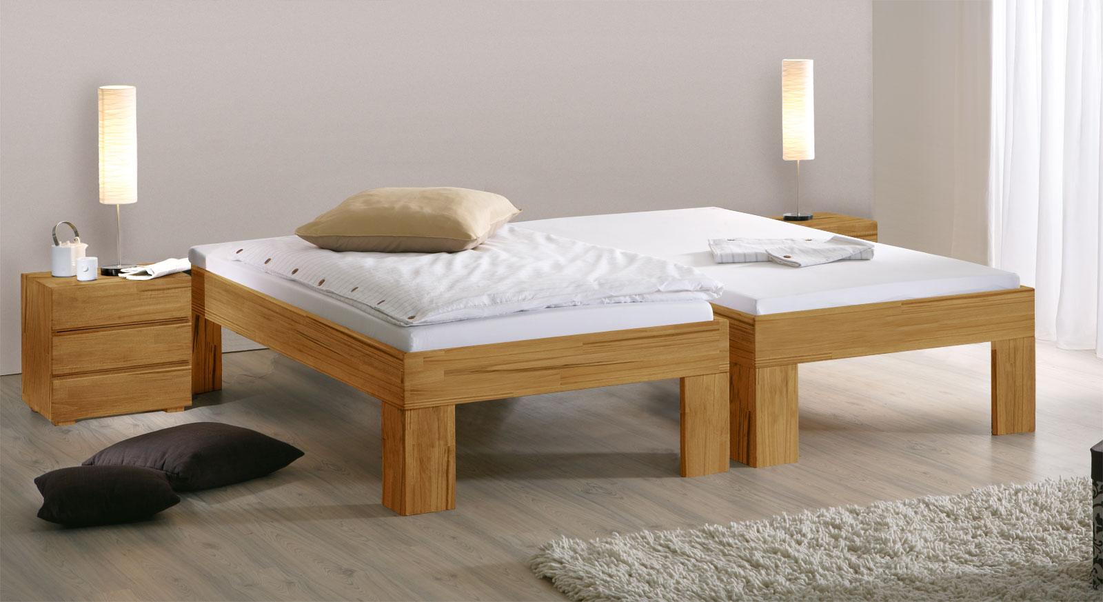 Bett Lucca Komfort mit der Fußhöhe 30cm in Kernbuche