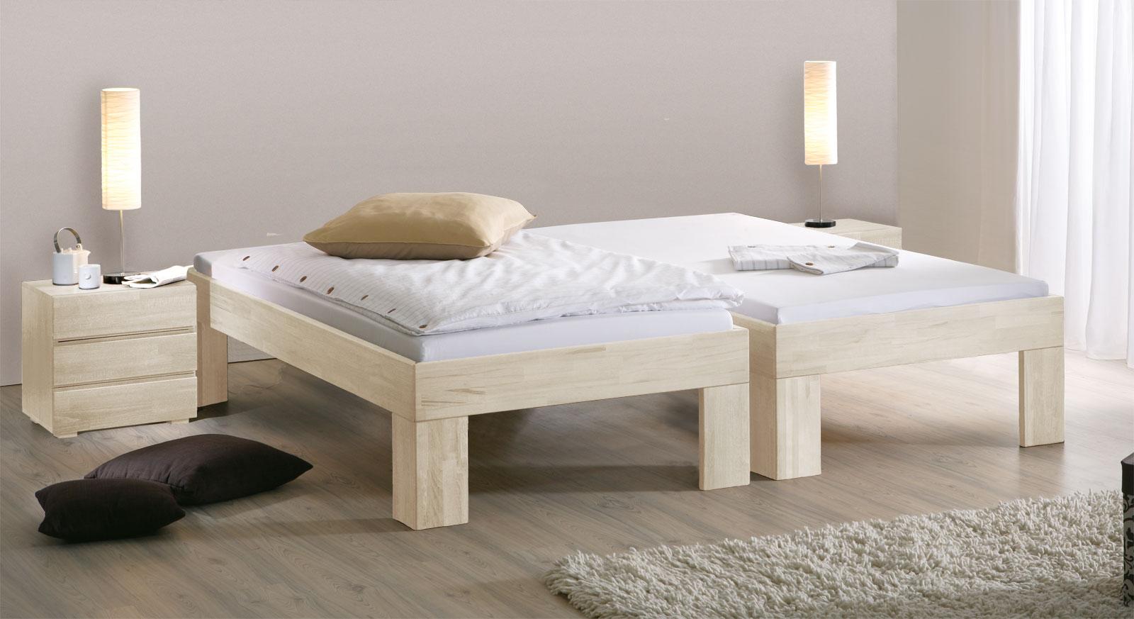 Bett Lucca Komfort mit 30cm hohen Füßen in Weiss
