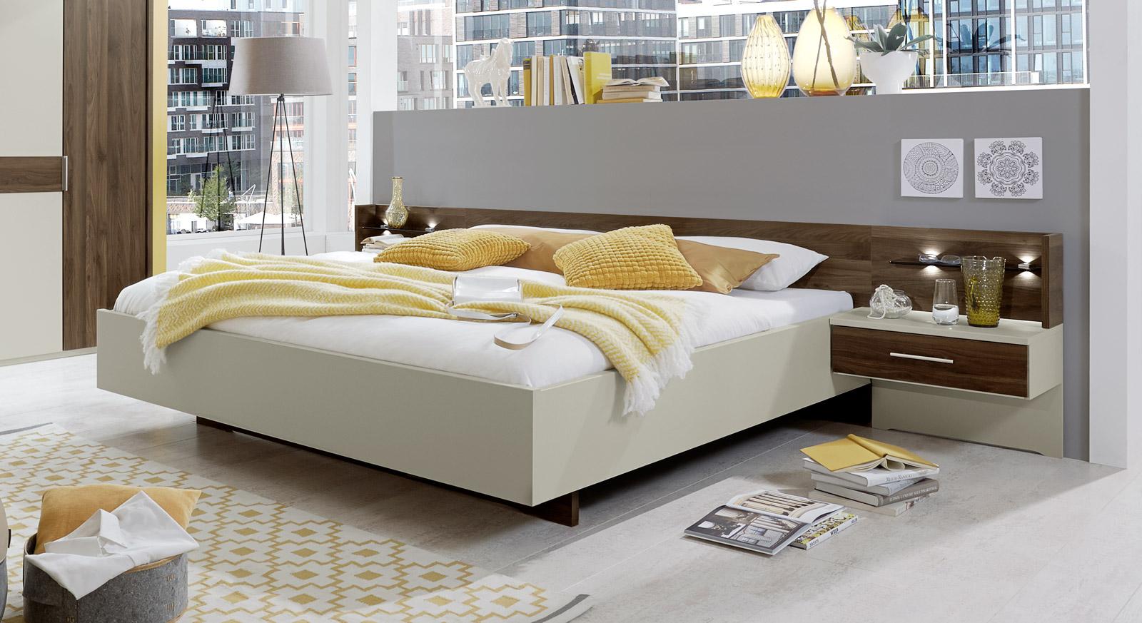 schwebebett wahlweise mit beleuchtung und kopfteilpolster lucea. Black Bedroom Furniture Sets. Home Design Ideas