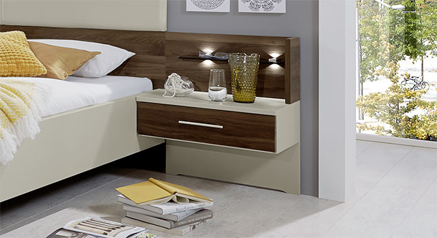 schwebebett wahlweise mit beleuchtung und kopfteilpolster. Black Bedroom Furniture Sets. Home Design Ideas