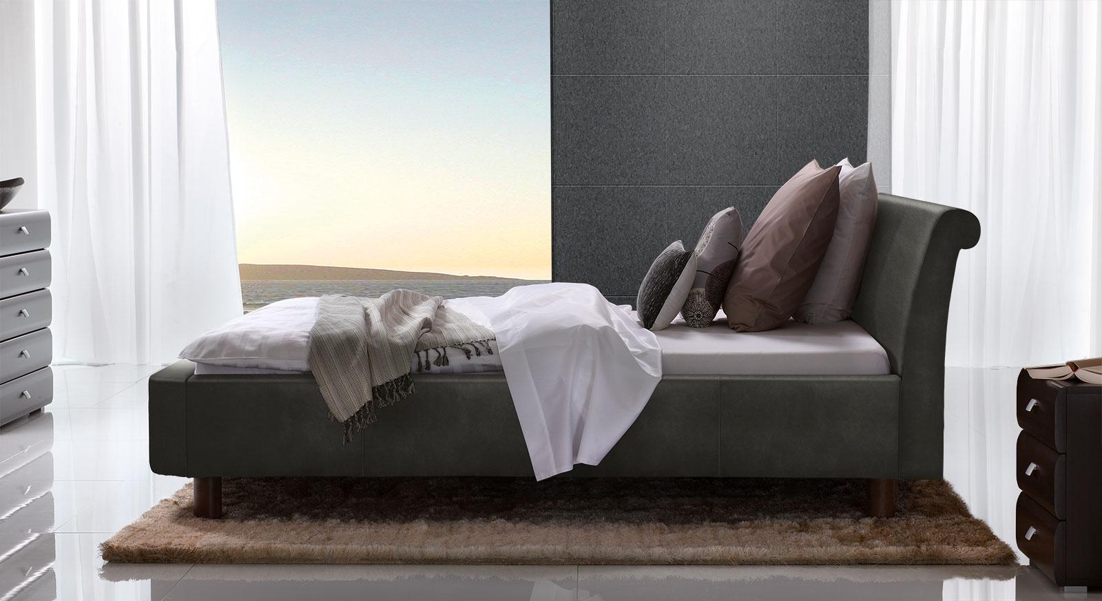 Bett Macuma in Luxus-Kunstleder anthrazit mit 20 cm Fußhöhe