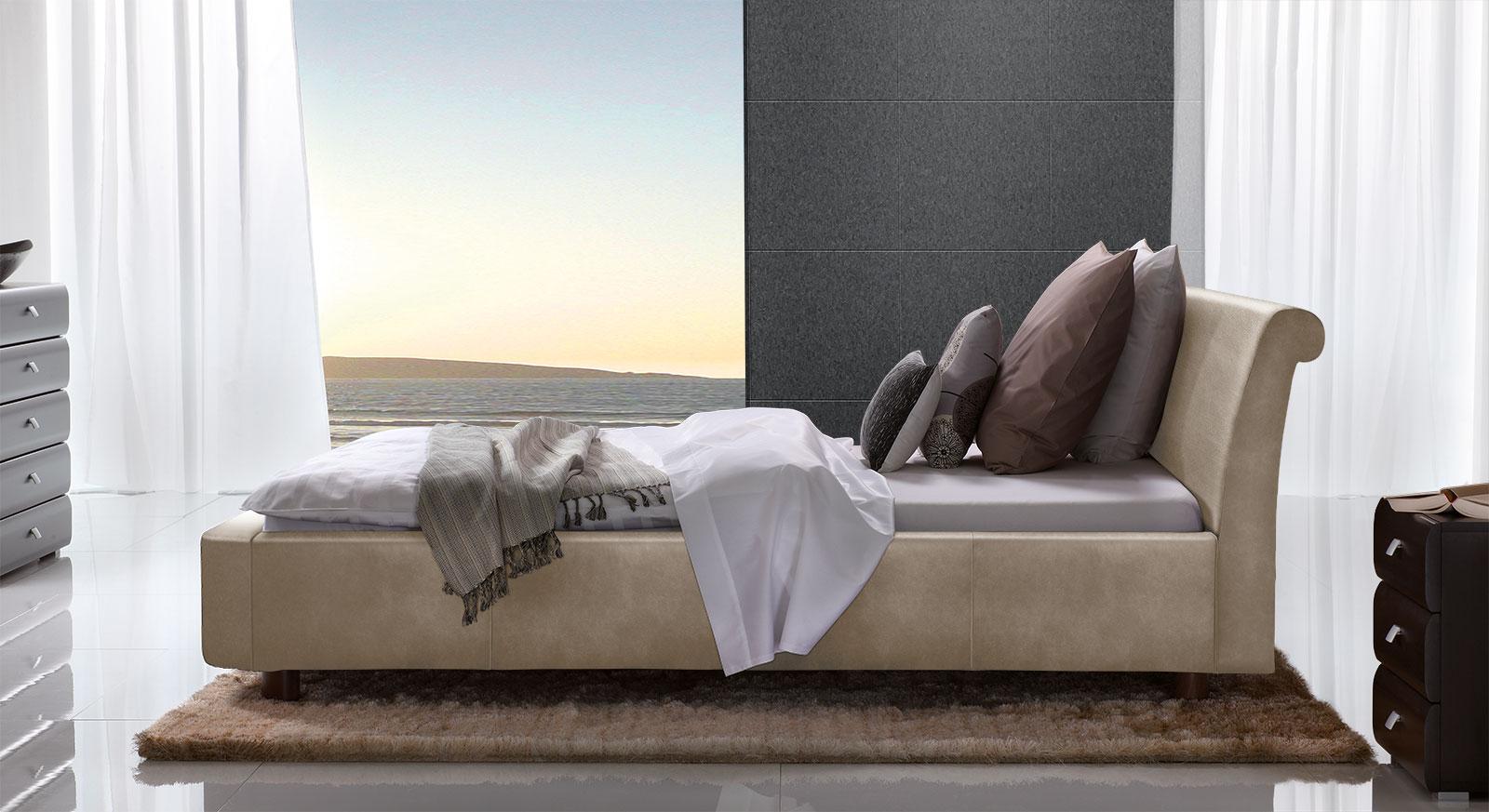 Bett Macuma in beigebraunem Luxus-Kunstleder mit 10 cm Fußhöhe