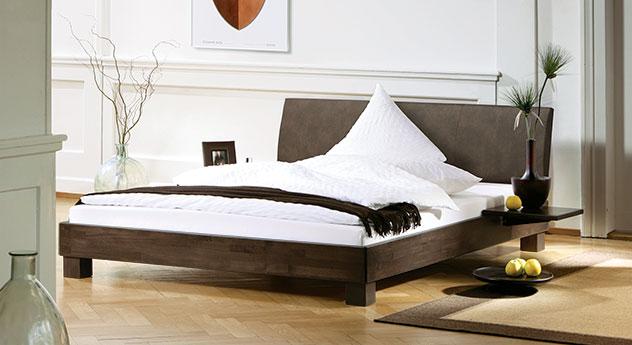 Hochwertiges Bett Marbella in Wenge mit hohem Kopfteil