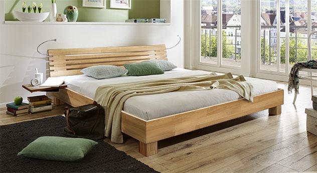 Bett Marmore aus Massivholz in Buche natur