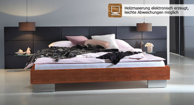 herrliches designbett aus massivholz mit wandpaneel miami. Black Bedroom Furniture Sets. Home Design Ideas