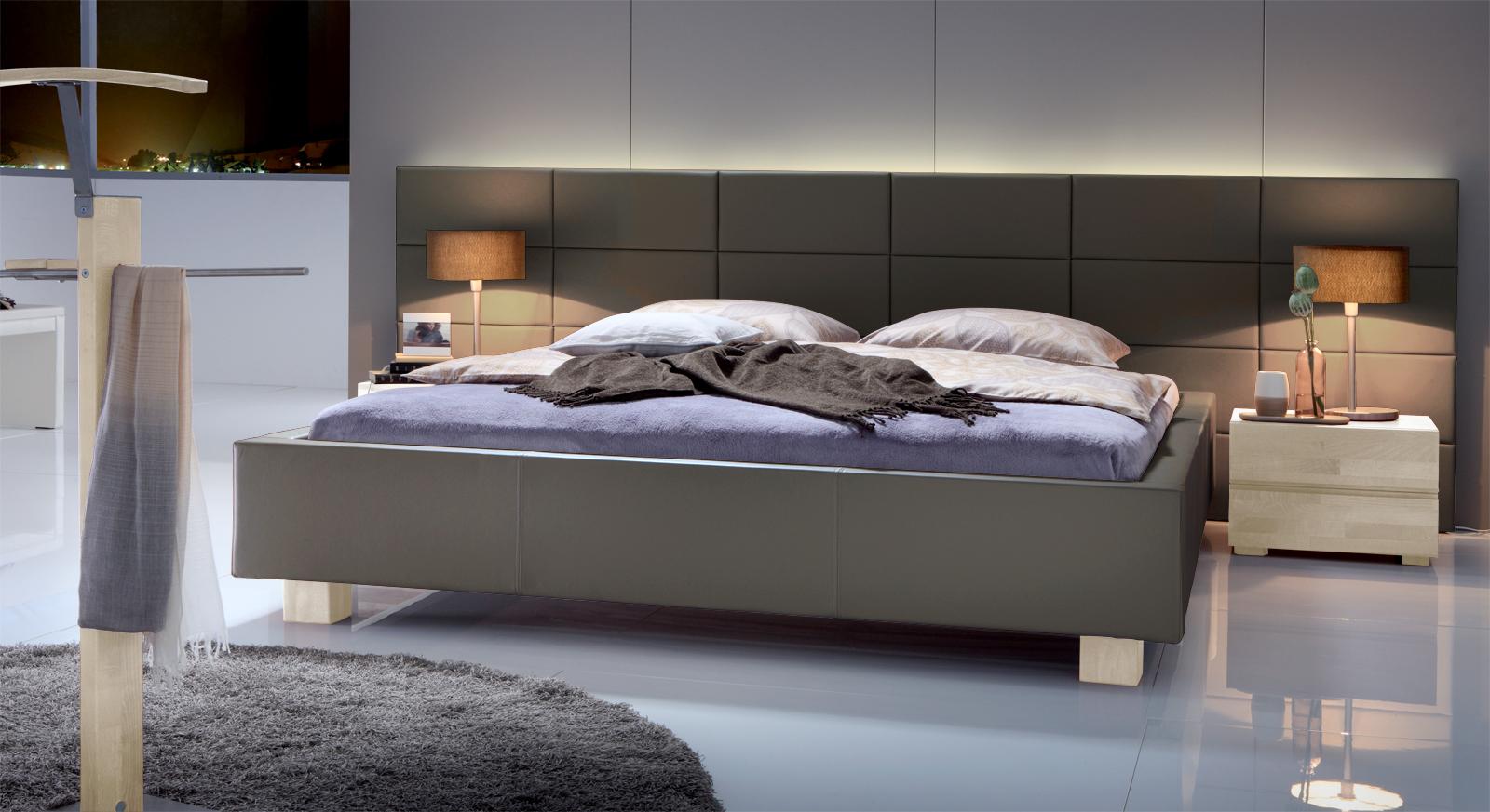 polsterbett mit wandpaneel z b 140x200 cm mill creek. Black Bedroom Furniture Sets. Home Design Ideas