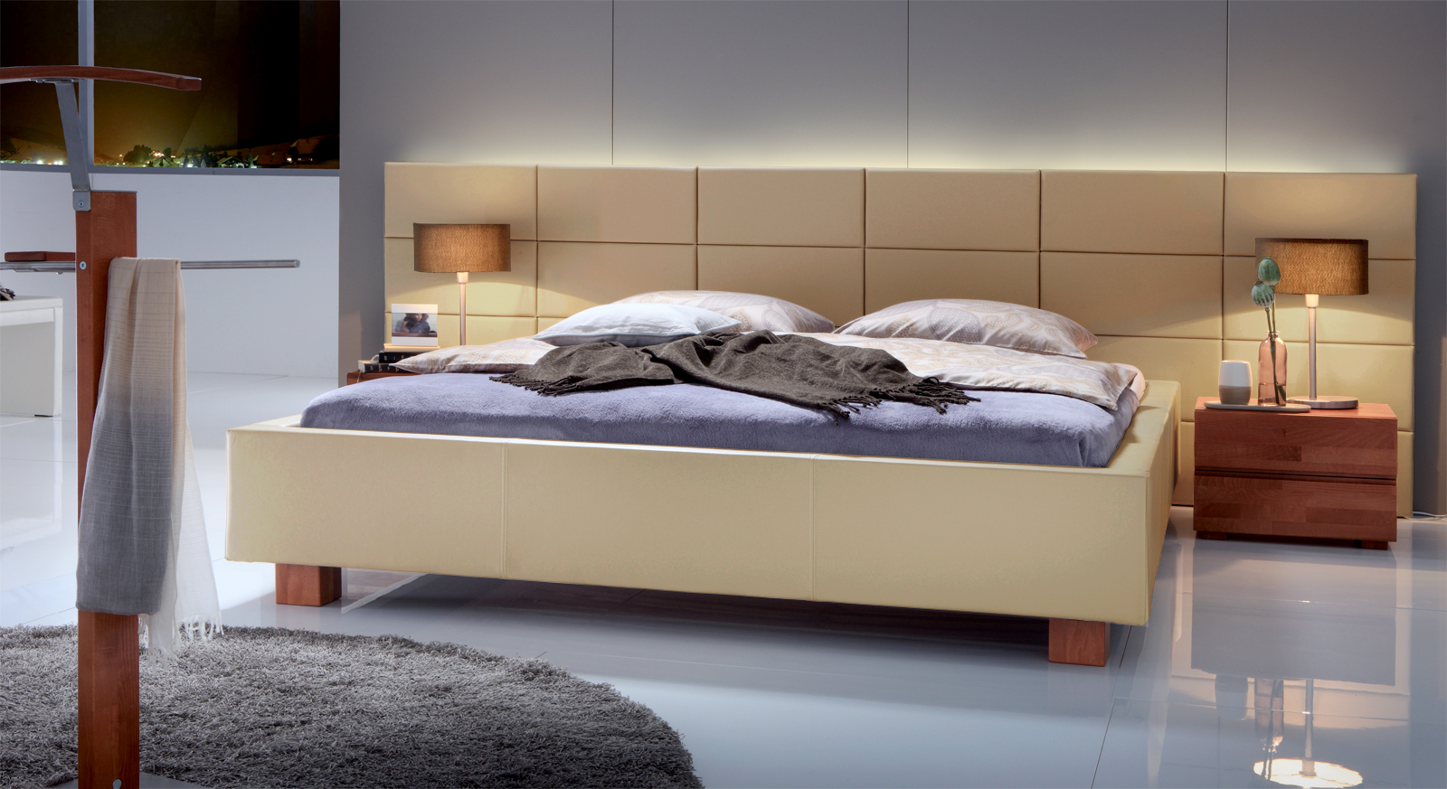 polsterbett mit wandpaneel z b 140x200 cm mill creek. Black Bedroom Furniture Sets. Home Design Ideas