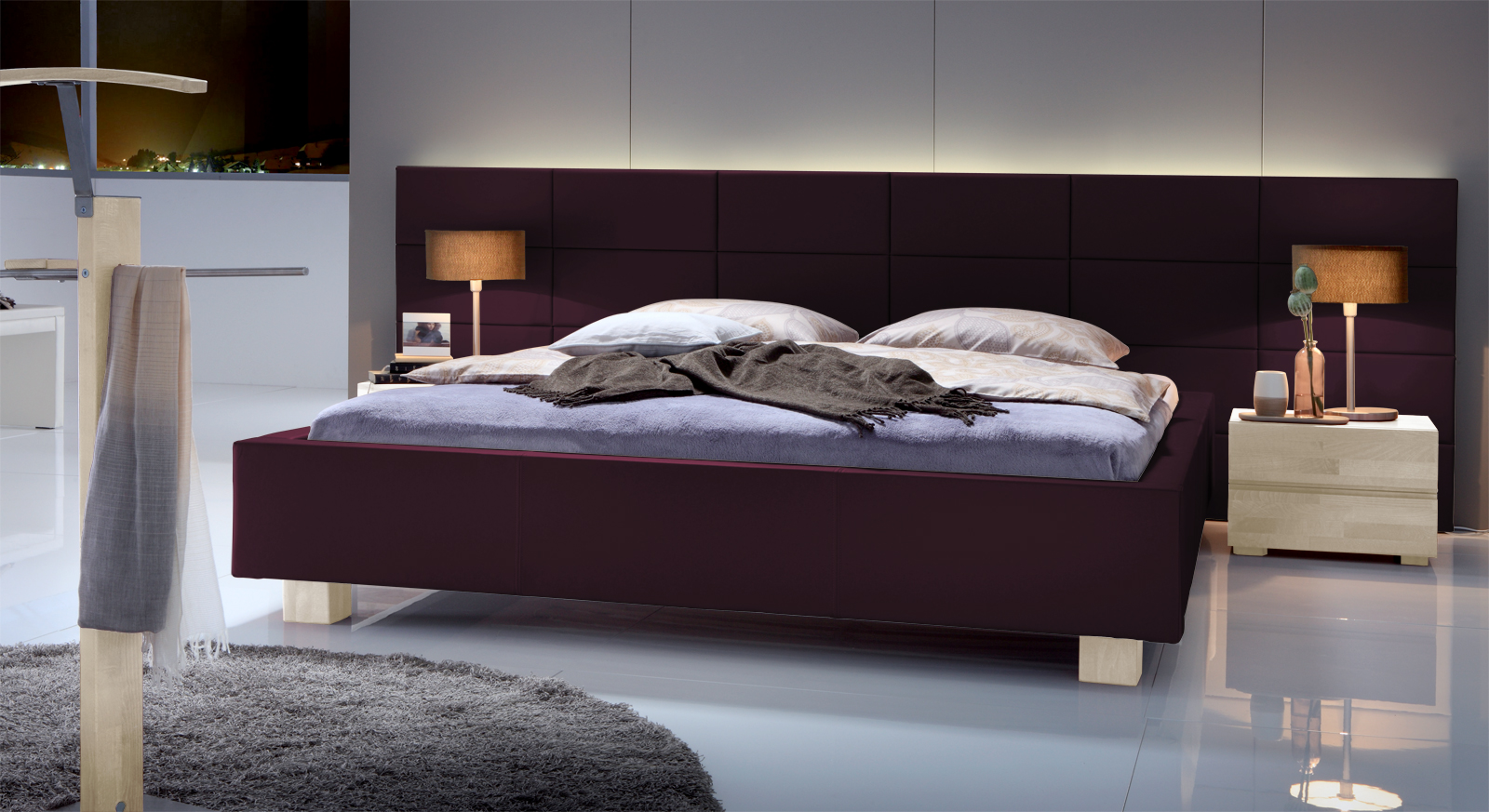 Bett Mill Creek Wandpaneel Violett Kunstleder Weiss