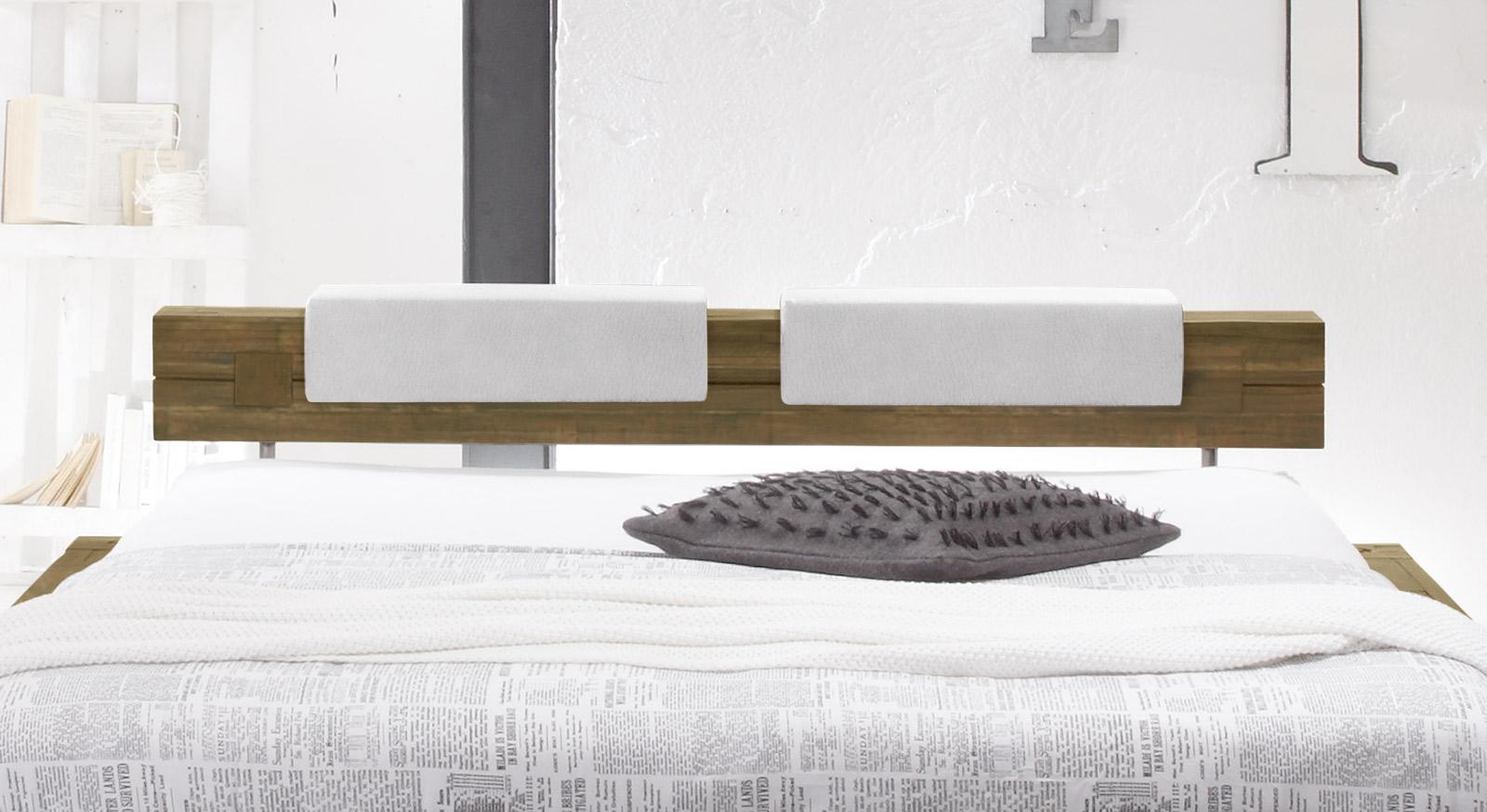 Bett Molina mit Balken-Kopfteil und optionalen Kissen