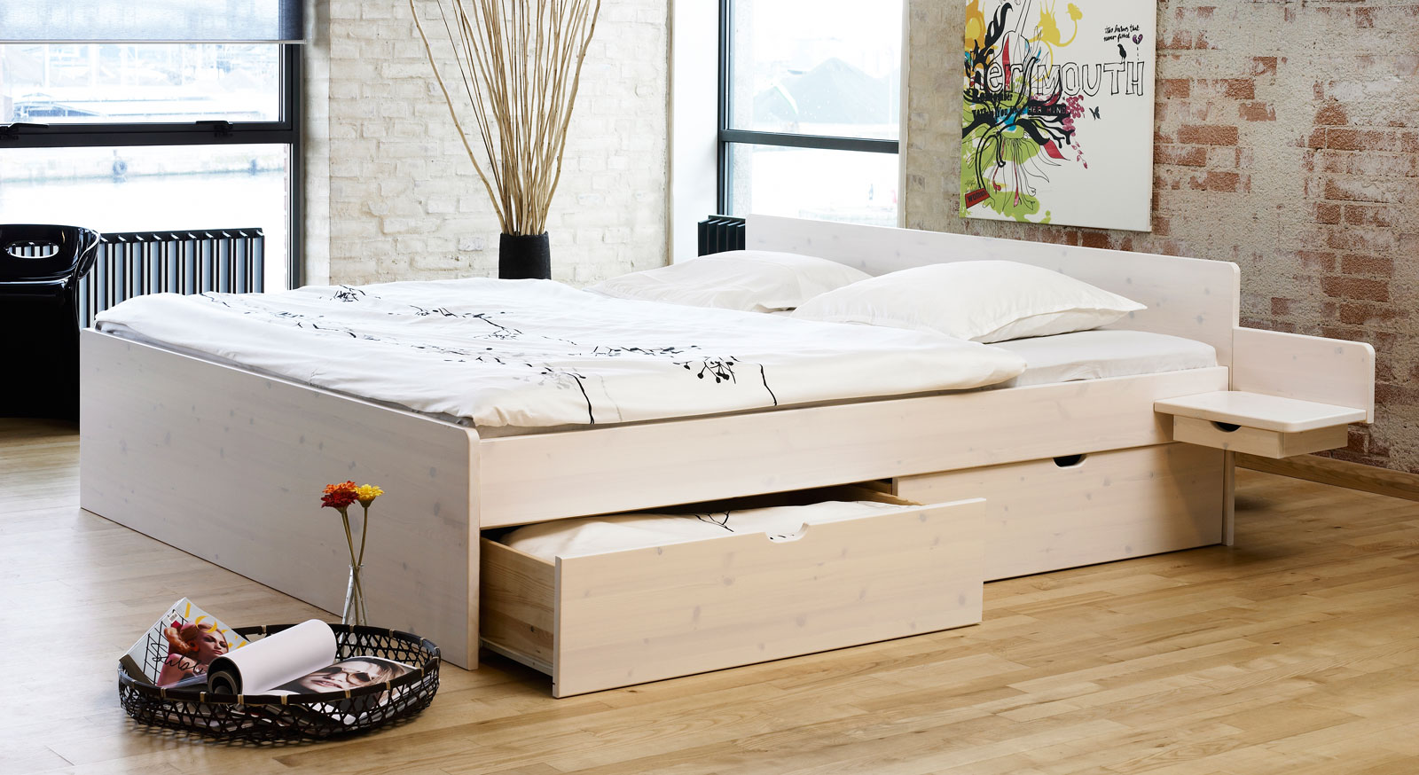einzelbett mit schubladen buche. Black Bedroom Furniture Sets. Home Design Ideas
