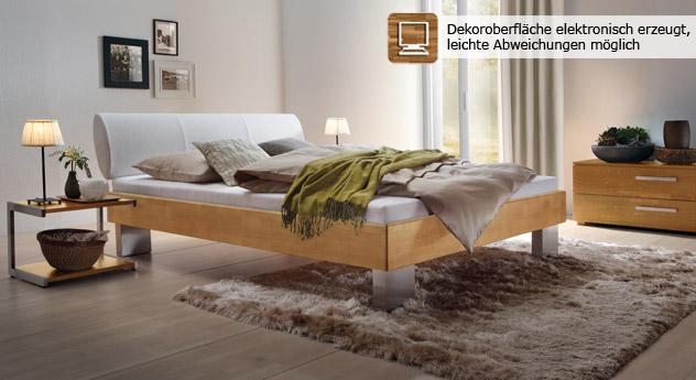 Bett Nuno aus naturfarbener Buche und weißem Kunstleder.