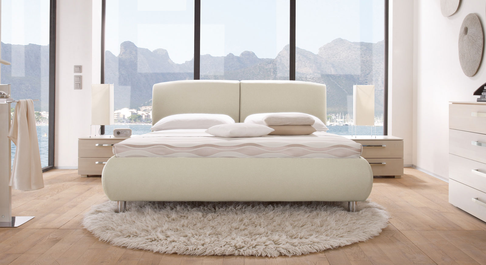 Das Bett Oristano in Beige