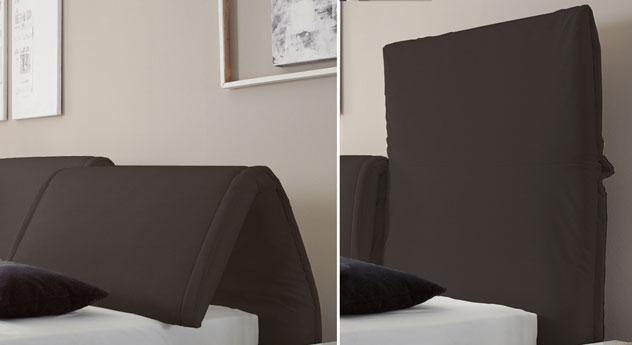 Das Bett Pablo mit gepolstertem und verstellbarem Kopfteil aus Leinen