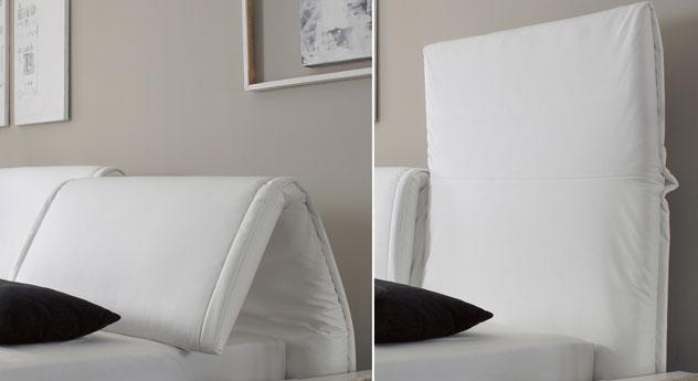 Das Kopfteil des Bettes Panaro in Weiß