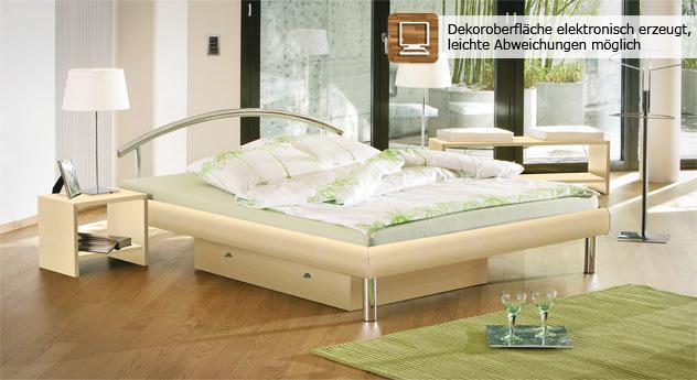 "Ahornfarbenes Bett ""Parla"" in Doppelbettgröße - 180x200 cm"